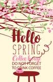 在咖啡题材的春天风景与杯子 库存图片