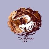 在咖啡飞溅的通入蒸汽的加奶咖啡杯子与文本 向量 免版税库存照片