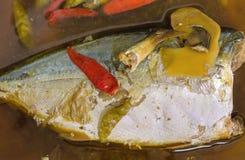 在咸汤的被炖的鲭鱼鱼,泰国的盘 免版税库存图片