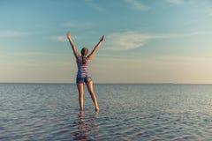 在咸湖的秀丽日落 库存照片