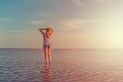 在咸湖的秀丽日落 免版税库存图片