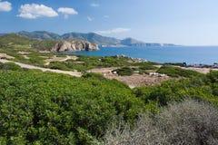 在品柱Pecora,撒丁岛,意大利的风景 免版税图库摄影