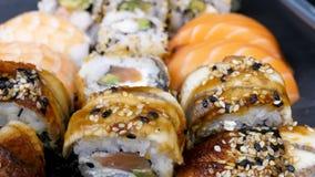 在品种的可口鲜美寿司卷 影视素材