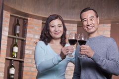 在品酒的愉快的成熟夫妇,敬酒和看照相机 免版税图库摄影