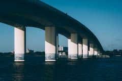 在哈利法克斯河的桥梁在Daytona海滩,佛罗里达 免版税库存图片