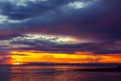 在哈夫洛克岛的五颜六色的日落 免版税库存照片