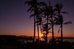 在哈密尔顿岛,澳大利亚的日落 库存照片