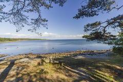 在哈尔姆斯塔德,瑞典附近的海岸线 免版税库存照片