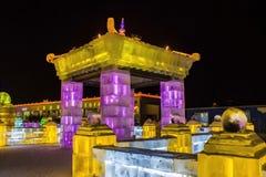 在哈尔滨冰和雪世界的冰大厦在哈尔滨中国 免版税库存图片