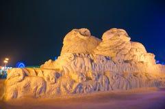 在哈尔滨冰和雪世界的冰大厦 免版税库存图片