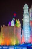 在哈尔滨冰和雪世界的冰大厦 库存图片