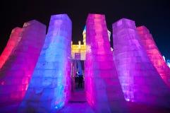 在哈尔滨冰和雪世界的冰大厦 库存照片