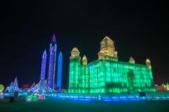 在哈尔滨冰和雪世界的冰大厦 图库摄影
