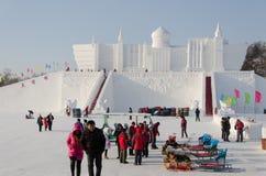 在哈尔滨冰和雪节日的雪雕在哈尔滨中国 免版税图库摄影