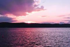在哈得逊河的日落 图库摄影