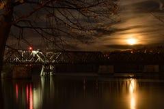 在哈得逊河的超级月亮 免版税库存图片