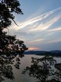在哈得逊河NY的风景日落 河 安静 库存照片