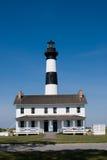 在哈特拉斯角全国海滨的历史的Bodie海岛灯塔在北卡罗来纳外面银行  免版税库存照片