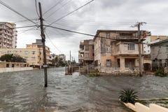 洪水在哈瓦那,古巴 免版税库存照片