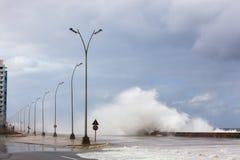 洪水在哈瓦那,古巴 库存图片