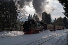在哈茨山的历史的蒸汽火车 免版税库存图片