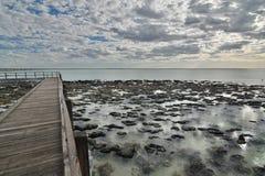 在哈默尔恩水池海洋自然保护附近的走道 Gascoyne地区 澳大利亚西部 库存图片