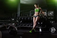 在哑铃行的性感的运动员女孩倾斜在健身房 库存照片