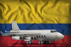 在哥伦比亚州旗子背景的轰炸机 3d?? 向量例证