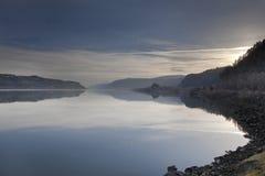 在哥伦比亚河峡谷的日出 免版税库存照片