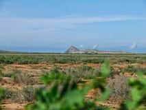 在哥伦比亚的沙漠中间的山 免版税库存图片
