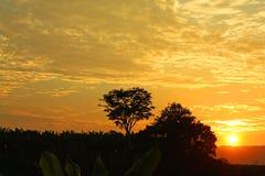 在哥伦比亚的热带中间的日落 内华达山 免版税库存图片
