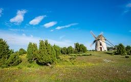 在哥得兰岛的老风车在瑞典 库存图片
