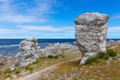 在哥得兰岛,瑞典人的海岸线的岩层 免版税库存图片