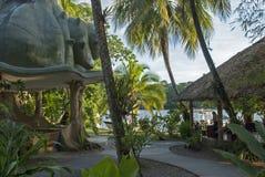 在哥斯达黎加密林小屋的黄昏 库存照片