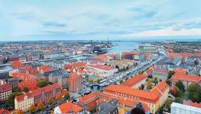 在哥本哈根的顶视图 免版税库存照片