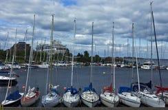 在哥本哈根端口的游艇 库存图片