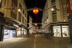 在哥本哈根街道上的圣诞节装饰  库存照片