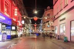 在哥本哈根街道上的圣诞节装饰  图库摄影