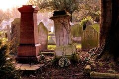 在哥特式公墓的古老老坟茔 库存照片