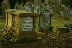 在哥特式公墓的老被困扰的坟茔 免版税图库摄影