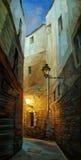 在哥特式处所的古老夜街道barcelon 库存图片