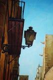 在哥特式处所的古老灯笼在巴塞罗那 向量例证