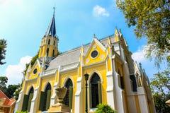 在哥特式样式兴建的泰国寺庙,阿尤特拉利夫雷斯,泰国 免版税库存照片