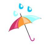 在哪滴水的多彩多姿的伞下落 美丽的辅助部件 库存照片