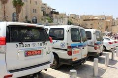 在哭墙的警车在耶路撒冷 免版税库存照片