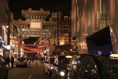 在唐人街伦敦英国的街道装饰 免版税库存照片