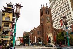 在唐人街附近的街道,旧金山 图库摄影