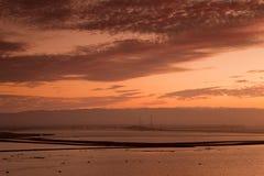 在唐爱德华兹旧金山湾全国野生生物保护区的日落 免版税库存图片