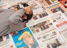 在唐纳德・川普就职典礼上的VR面具由主要国际性组织n 免版税库存图片