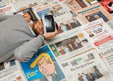 在唐纳德・川普就职典礼上的VR面具由主要国际性组织n 库存照片